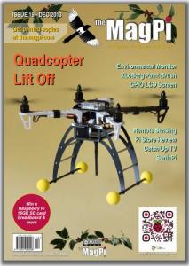 ラズベリーパイの無料の雑誌「Magpi」の2013年12月号が出ていた。ミニヘリコプターが作れそう